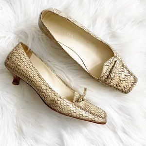 Prada Snakeskin Loafer Kitten Heels